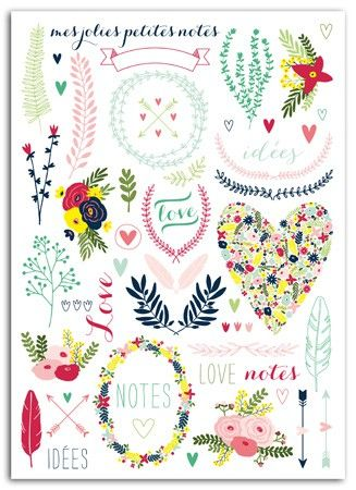 Transferts – Rub-ons – 15x21cm – Lovely Flowers Couleurs