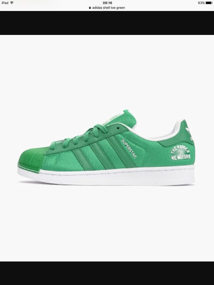 Green Adidas superstar shell toe sneakers