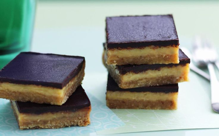 Chocolate caramel slice recipe - By Australian Women's Weekly, Chocolate caramel slice is the ultimate afternoon indulgence, from its biscuity bottom to its chocolate top, and never forgetting the unctuous caramel layer in between.