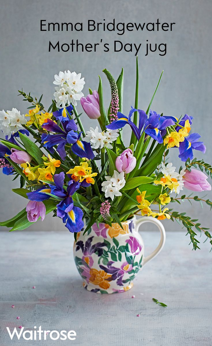 11 best mothers day images on pinterest mothers day craft cards treat mum with this gorgeous jug designed exclusively for waitrose by emma bridgewater presented with colourful iris tulips and narcissi this gift is a izmirmasajfo