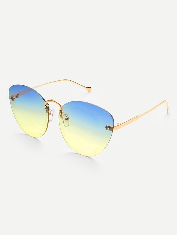 43ba1f5843 Two Tone Lens Rimless Sunglasses -SheIn(Sheinside)