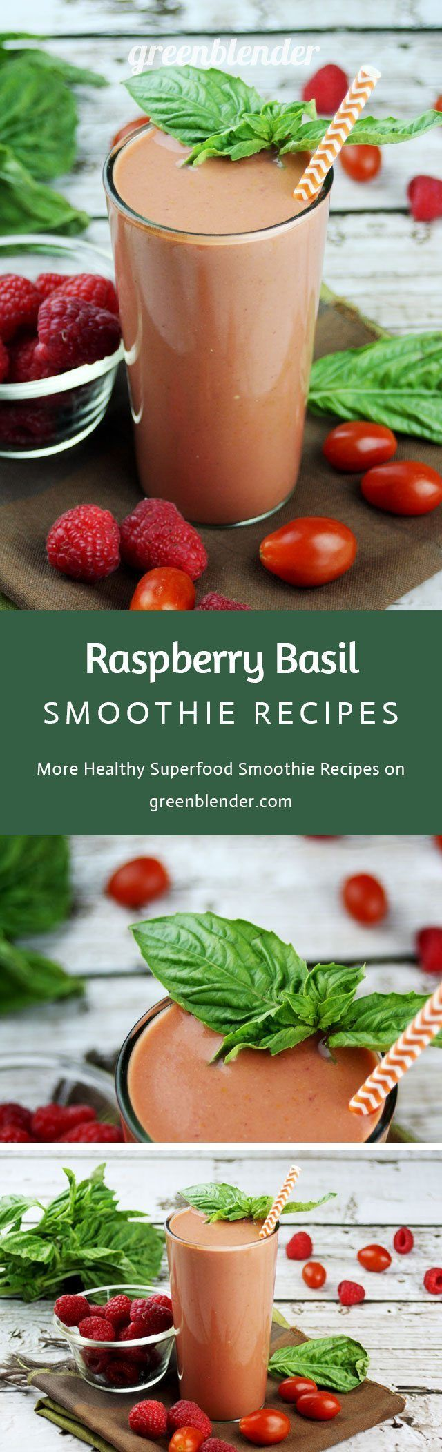 Raspberry Basil Healthy Smoothie Recipe by Green Blender: This sweet and bright mixture contains heart-healthy walnuts, lycopene-rich tomatoes, and superfood goji berries. The immune system-boosting goji berries (also known as wolf berries!) come from China, Mongolia, and the Himalayas. They contain an antioxidant called zeaxanthin which can help in protecting the eyes from ultraviolet rays. Goji berries contain vitamins A and C as well as iron to help with cell renewal.