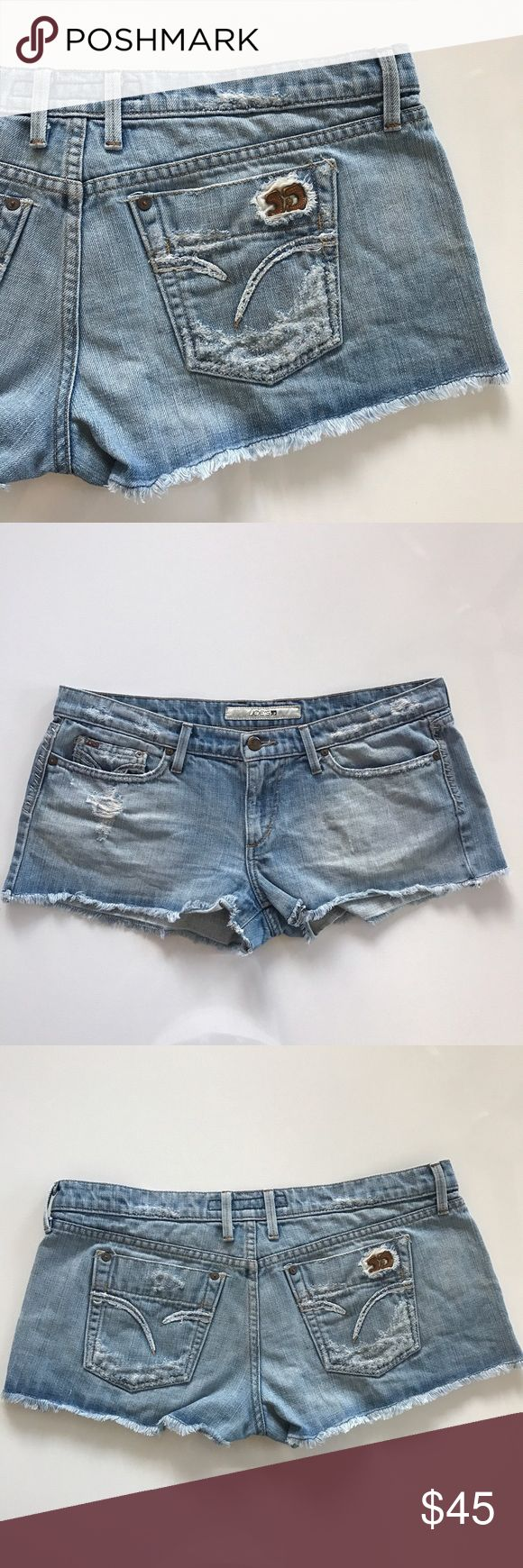 """[Joe's Jeans] distressed cutoff jean shorts 32 [Joe's Jeans] distressed cutoff jean shorts 32 •🆕listing •good pre-owned condition •length/inseam 2"""" •flat front waist measures 18"""" •material 100% cotton •Offers and bundles welcomed using the features Joe's Jeans Shorts Jean Shorts"""