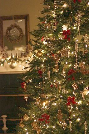Christmas tree decor - red, green, and gold.