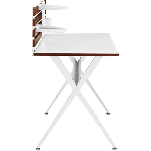 Knack Cherry and White Office Desk ($260) ❤ liked on Polyvore featuring home, furniture, desks, cherry desk, cherry furniture, white home office desk, home storage furniture and white desk