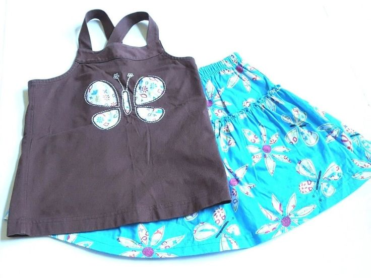 Hanna Andersson Girl's 120 Skirt Skort Top SET Aqua Brown Butterfly Cotton #HannaAndersson #Everyday