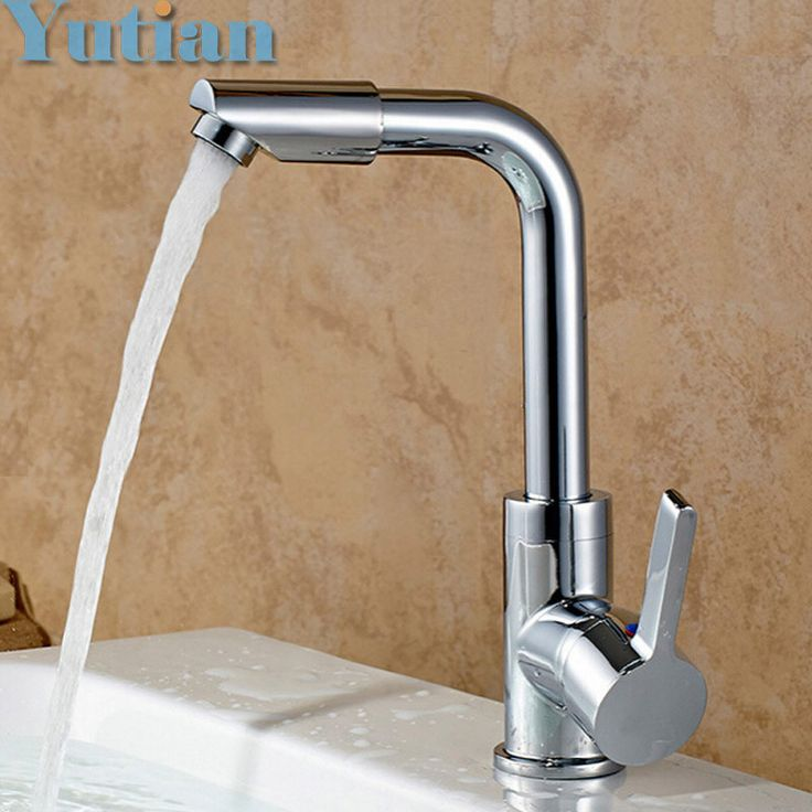 Hot selling,Free shipping Kitchen bathroom sink basin mixer tap chrome swivel with long arm rotate brass Faucet YT-5033