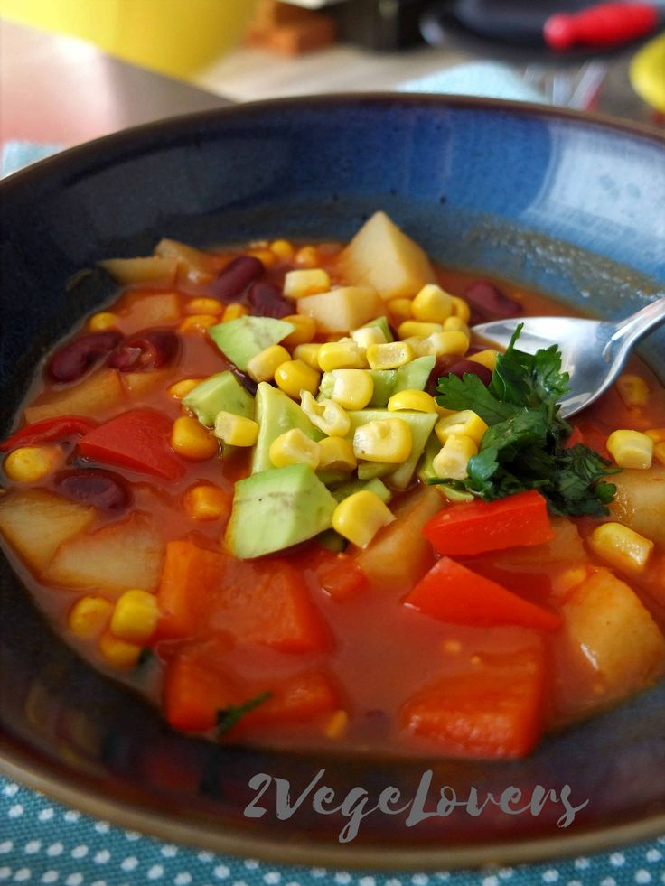VEGAN MEXICAN SOUP WITH AVOCADO AND POTATOES