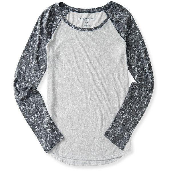 Aeropostale Long Sleeve Geo Raglan Tee ($16) ❤ liked on Polyvore featuring tops, t-shirts, blusas, chelsea fog, raglan tee, raglan t shirt, long sleeve t shirts, aeropostale t shirts and ripped tees