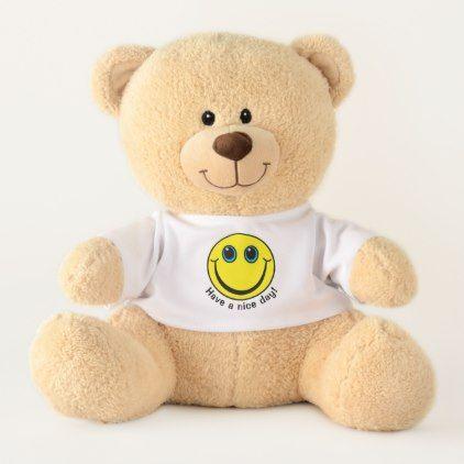 #Yellow Smiley Face Have a Nice Day Medium Teddy Bear - #emoji #emojis #smiley #smilies