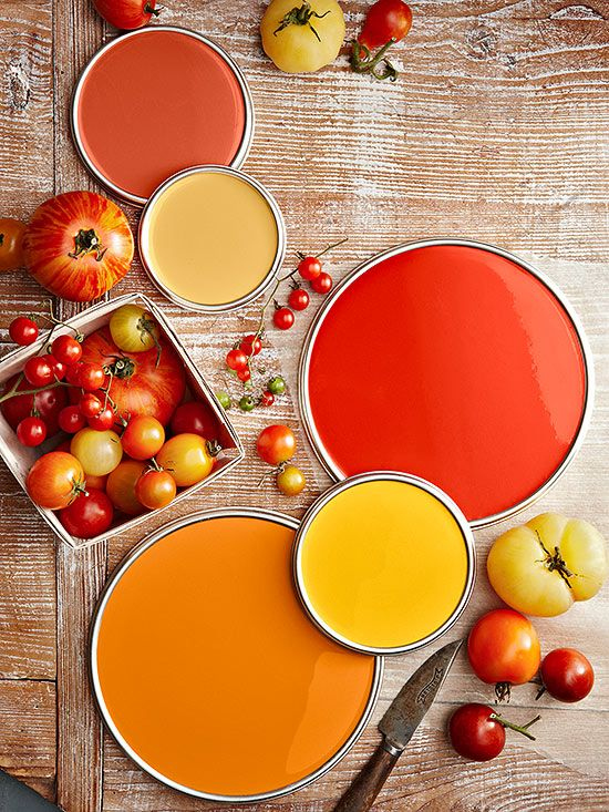 "Reds (""Tomato Hues"") - from top left: Mango Mania, Tawny Port, Tomato Soup, Elizabethan Yellow, and Carrot Stick."