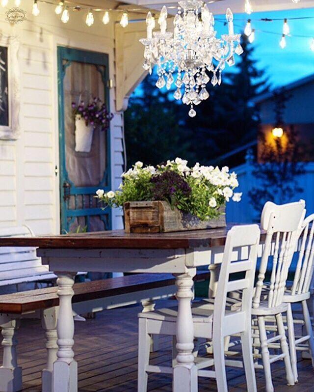 Patio, back deck, white patio furniture, farmhouse table.