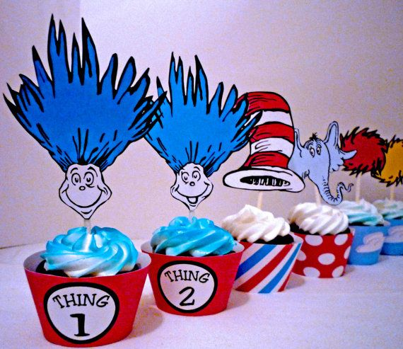 Jonathan's birthday turned out beautiful thanks to these Dr Seuss Party Cupcake Toppers and Wrappers by OpalandMae on Etsy, $10.00