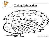 Thanksgiving Turkey Subtraction Worksheet - Have Fun Teaching