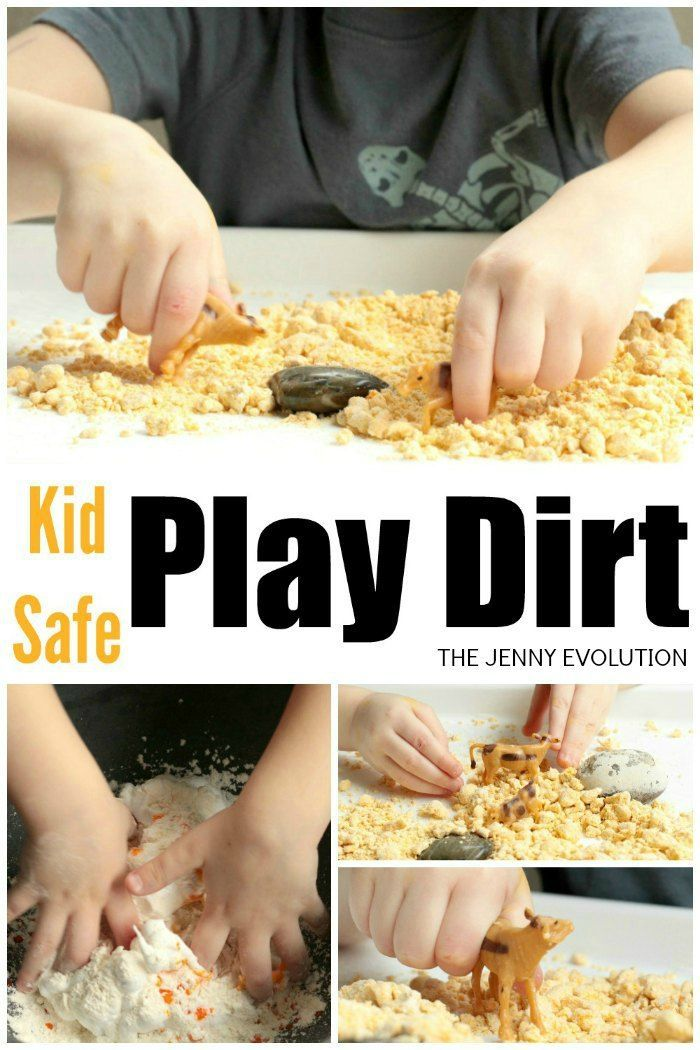 For some fun inside sensory options, try out this DIY kid-safe play dirt! My kids love sensory activities and will play as long as it is messy!