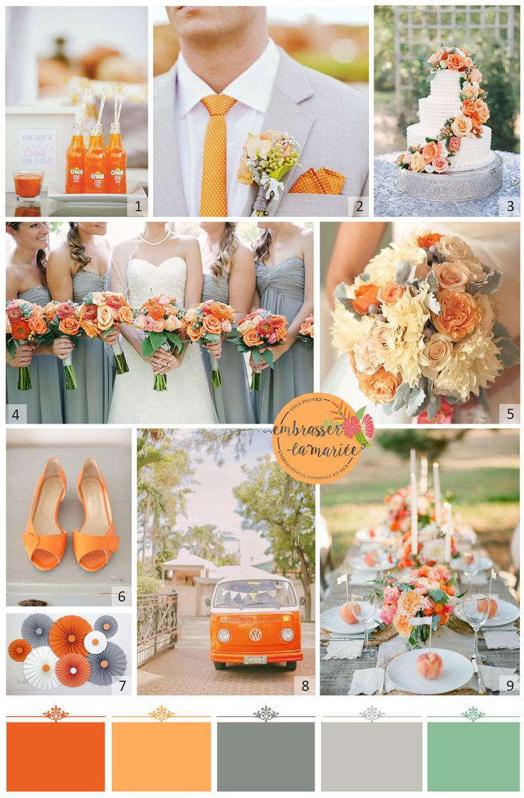A tangerine and grey wedding? Yes please! Orange is a beautiful color often put aside. It looks beautiful combined with grey! Love it.