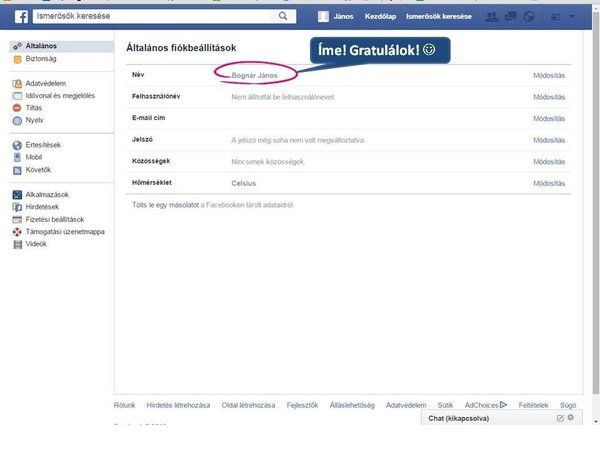 Világháló – Magyar nevet magyarul a Facebookra!