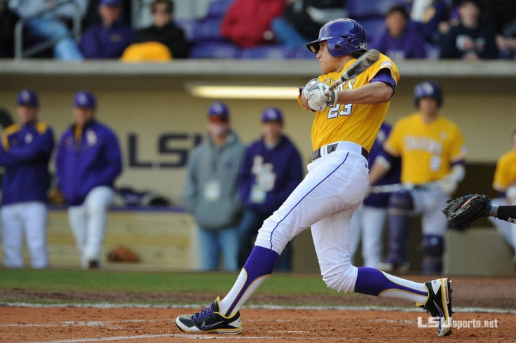 Purple stirrups with gold accents for LSU's baseball team