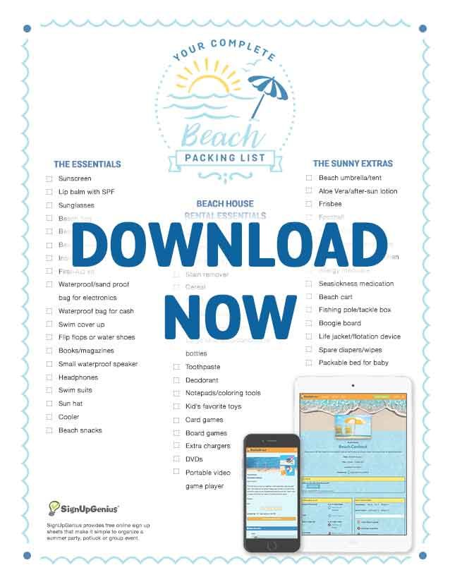 beach packing checklist printable downloadable essentials water vacation trip
