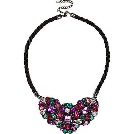 As some sparkle with this black cord gem stone necklace #riverisland