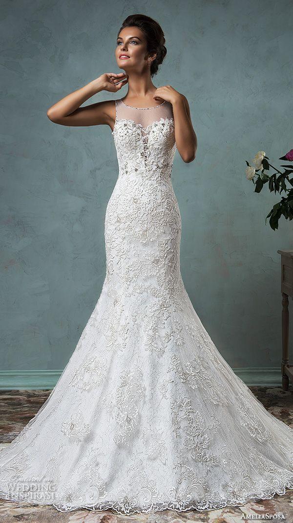 amelia sposa 2016 wedding dresses sleeveless sheer jewel neckline embroidered beautiful trumpet fit to flare meramid wedding dress victoriya