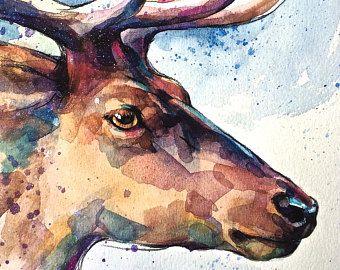 "Fine Art Print ""Hirsch"", Tier Bild, Tier Portrait, A4, print stag, deer, watercolor, drawing, animal art, giclee print"