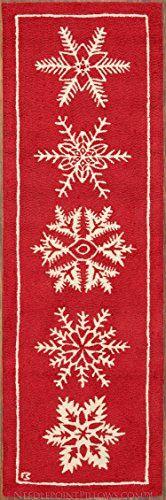 Handmade Seasonal Red White Snowflake Ski Skiing Lodge 100 Wool Christmas Holiday Hallway Runner Hooked