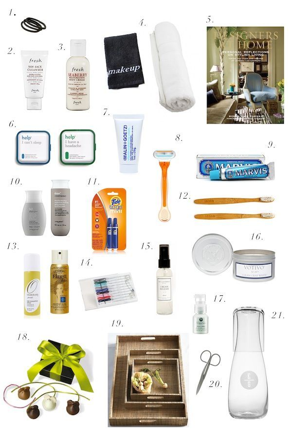 Hair elastics, facewash, body lotion, black makeup towel, white bath towel, adorable kits for sleep aids and headaches, shaving cream and razor, toothpaste, shampoo, conditioner, Mini Tide, Disposable tootbrush and sewing kit with safety pin & button, candle in a clean scent, a welcome gift like tiny chocolates, a tray to keep everything on