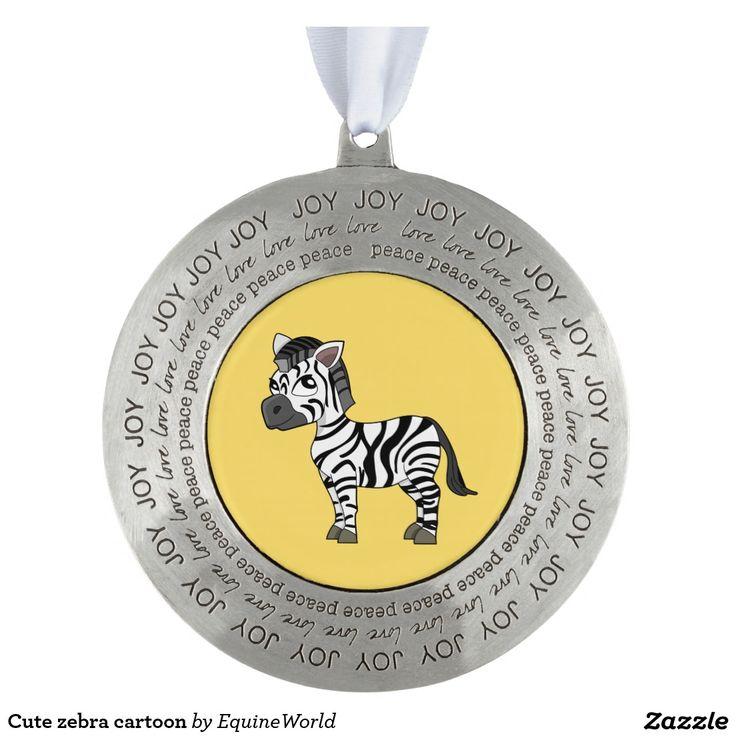 Cute zebra cartoon round pewter christmas ornament