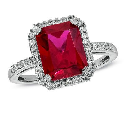 Emerald-Cut Lab-Created Ruby and White Sapphire Ring in Sterling Silver