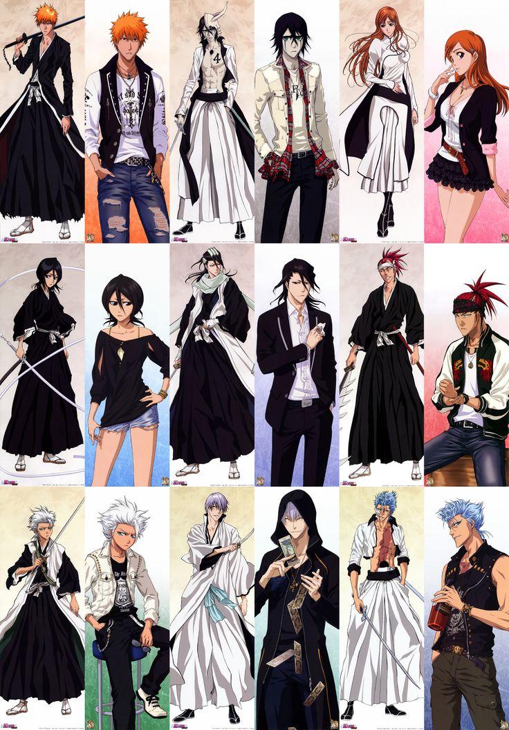 Ichigo, Ulquiorra, & Orihime, Rukia, Byakuya, & Renji, Toshiro, Gin, & Grimmjow. Bleach bad & good guys.