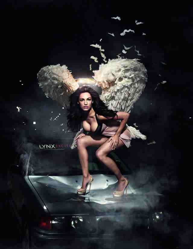 I made angel wings for this Lynx campaign. There were three smaller sets for angels and one large set for Kelly to wear in this shoot by Kate Unwin