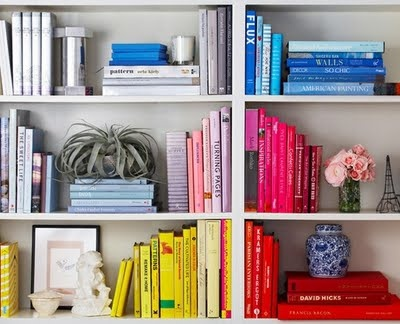 Color coded book shelves.