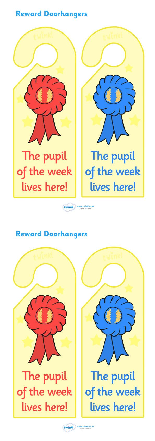 Twinkl Resources >> Pupil of The Week Reward Door Hangers  >> Thousands of printable primary teaching resources for EYFS, KS1, KS2 and beyond! reward, award, door hangers, decoration, winner, encouragement, pupil of the week