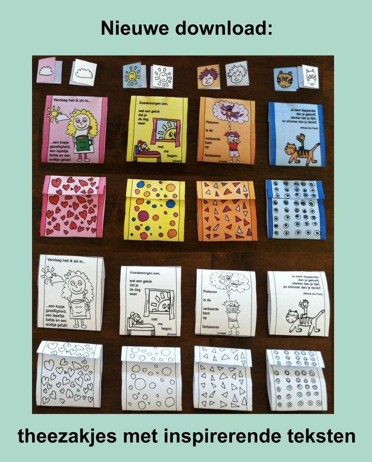 Gratis download zelfmaak-theezakjes met inspirerende teksten: http://www.bewustzijninbedrijf.nl/gedachte-kracht.nl/theezakjes.htm Veel plezier ermee!