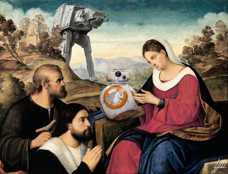 The Force Awakens of famous masterpieces.  The Holy Family with a Donor in a Landscape painting by Francesco Bissolo.  #starwars #theforceawakens #bb8 #droid #famous #painting #art #artwork #photomanipulation #digitalart