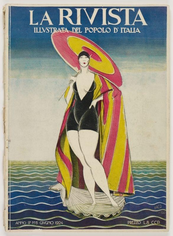 La Rivista, anno II, n. 6 (Giugno 1924), front cover: [Illustration of an Italian Venus in modern swimsuit, signed] Bazzi