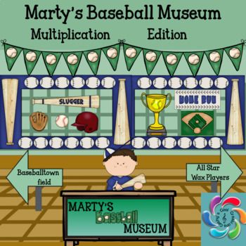 Martys Baseball Museum is an interactive game to help students practice multiplication facts and provide teachers an opportunity to assess students in the process.  Students also learn about Americas Greatest Past time, Baseball in the process.  Students travel through three scenes in the museum and click on different objects/ people to get multiplication facts to practice.