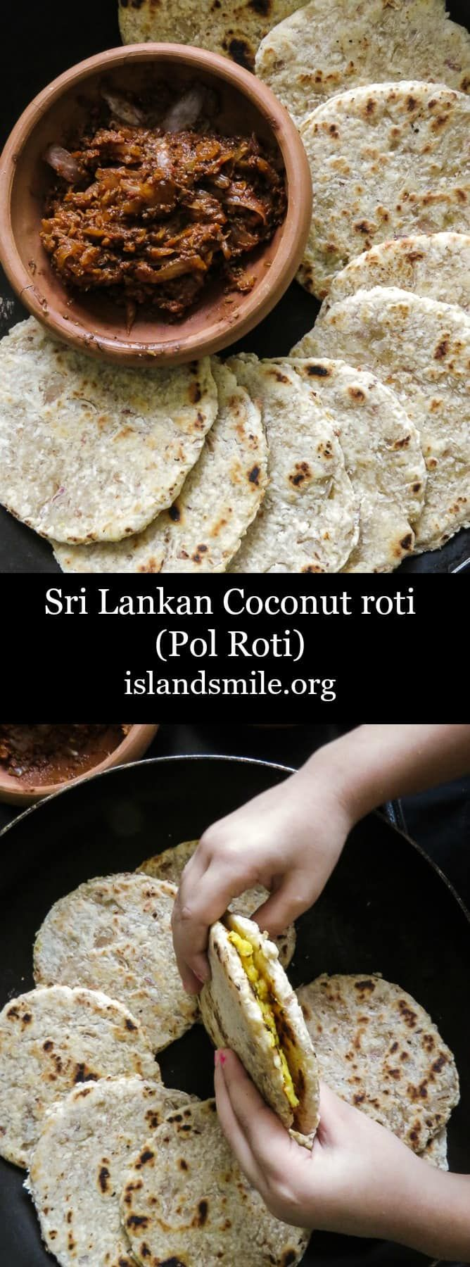 Sri lankan Coconut roti(pol roti, flat bread), a rustic flat bread made up of flour, grated coconut with diced green chillies and Onions for extra texture. vegan, vegetarian, breakfast