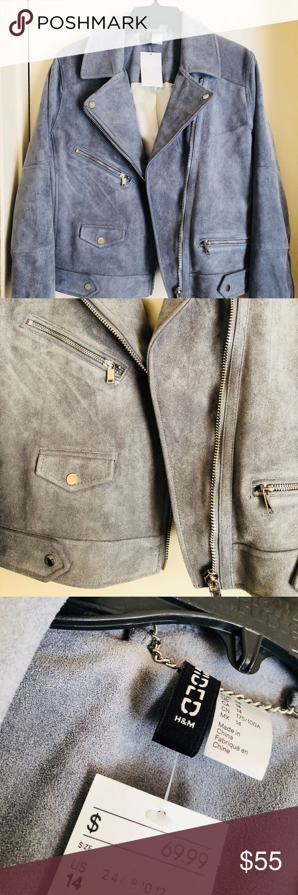 Medium Blue/ Gray Suede H&M Biker Jacket Brand new never worn with tags medium blue/gray suede H&M biker jacket! Awesome gem to find! Perfect for the fall/winter weather! Can be paired with a casual or formal outfit! Even though it is a size 14 it does run more so on the smaller side so I think it would somebody that is a true size 8 or 10! #hm #bikerjacket #fashiontrending #stylish2017 #gift #giftyourself #xmaaspresent #warm H&M Jackets & Coats
