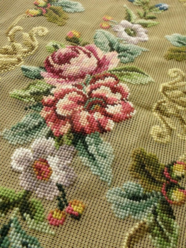 """45"""" Vtg. PREWORKED Needlepoint Canvas BENCH Cover -FRENCH Pink Rose Peach Peony in Crafts, Needlecrafts & Yarn, Needlepoint & Plastic Canvas 