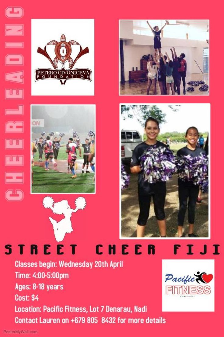 ***NEW*** Cheerleading Classes are coming to NADI. Be sure to come along and learn new skills, meet new friends and have fun whilst getting active. Boys and Girls welcome aged 8-18 years. Classes begin Wednesday 20th April. $4 Pacific Fitness. Contact Petero Civoniceva Foundation or Lauren on 8058432 for more details