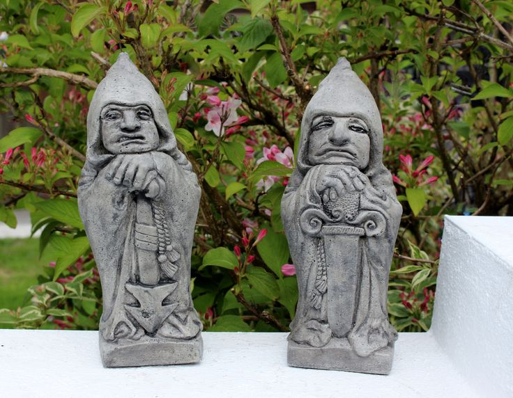 A personal favourite from my Etsy shop https://www.etsy.com/uk/listing/514151252/gatekeeper-keepers-stone-garden-statues