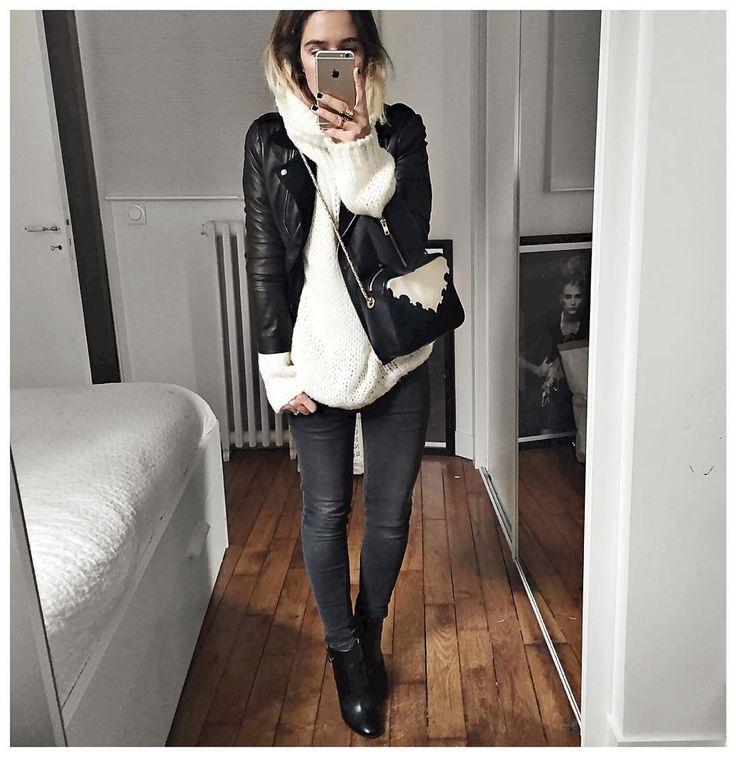 """""""Et tenue du jour : • Leather Jacket #Sezane (from @sezane) • Knit #junebrussels…"""