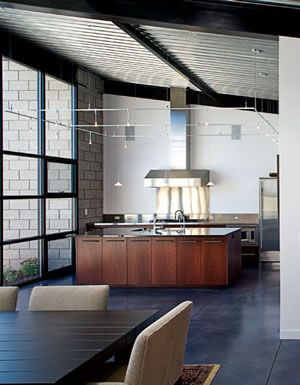 Love the ceiling treatment. Corrugated galvanized steel - inside!