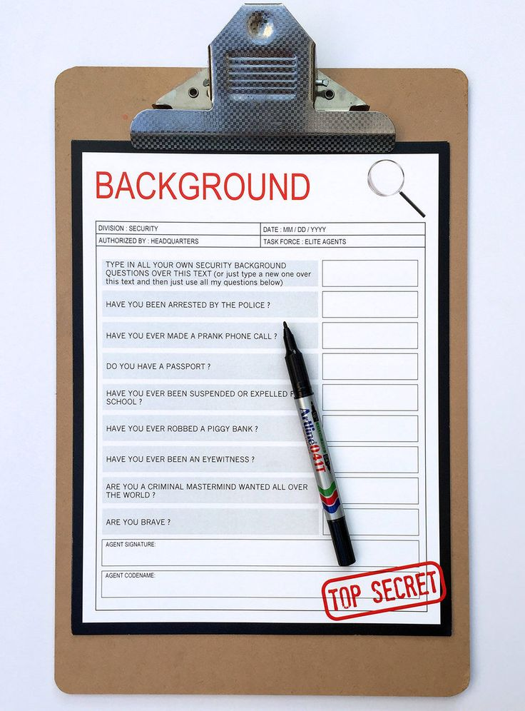 Secret Agent Party Background Check - when Secret Agents arrive at your party screen them with this fun Background Check! | Spy Birthday Party Theme | Editable Template | INSTANT DOWNLOAD via www.SIMONEmadeit.com
