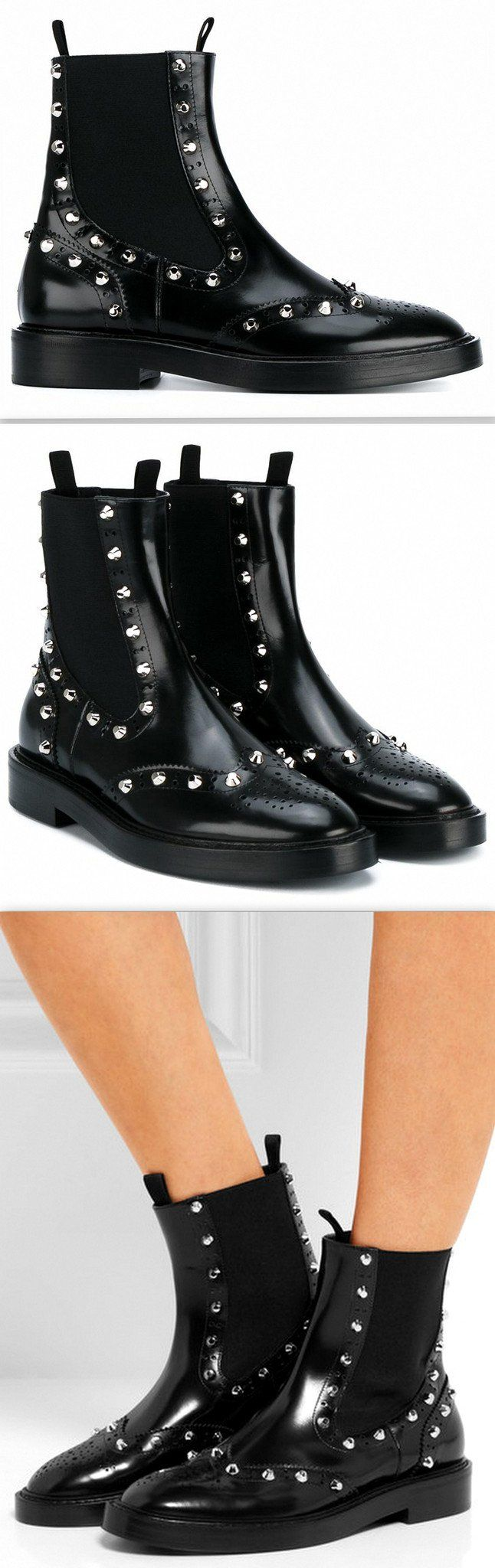 Black Studded Chelsea Brogue Boots