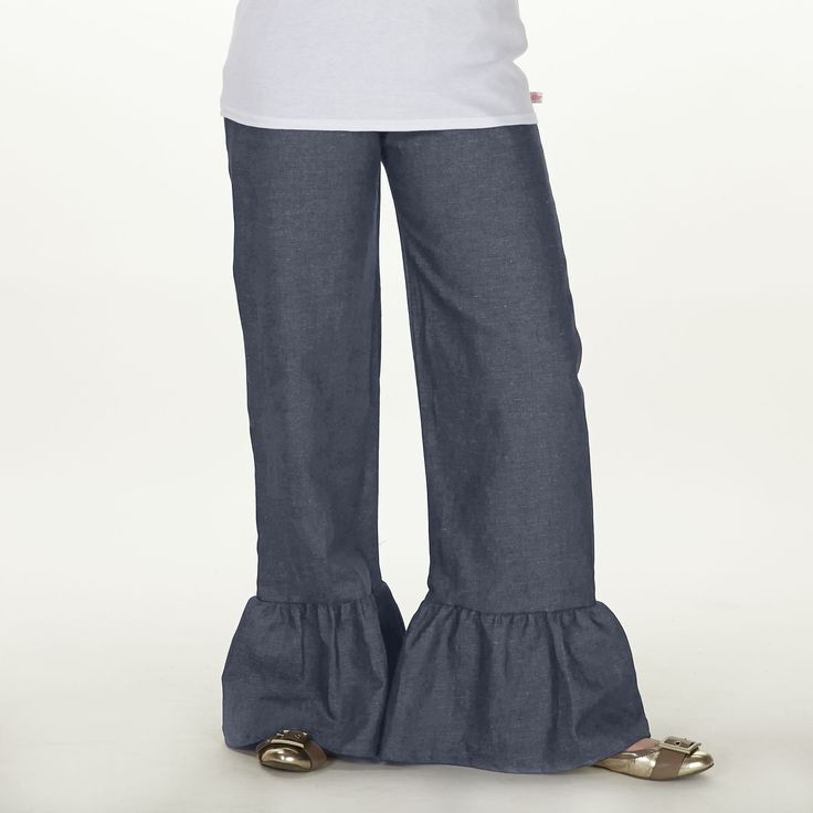 Swoon! Love this Ladies Light Denim Ruffle Pant I discovered at lollywollydoodle.com and for only $40! Click the image above to get a $5 off coupon code for your next order!