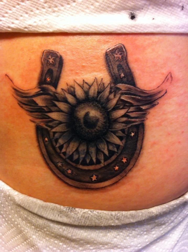 sunflower and horseshoe tattoos | Horseshoe, sunflower cover up