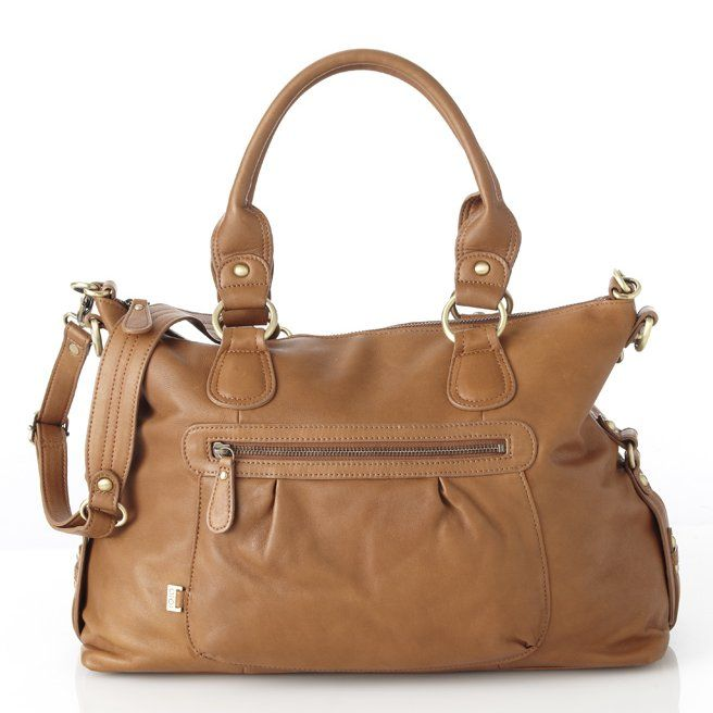 OiOi Leather Slouch Tote Nappy Bag - Tan